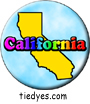 California Outline Rainbow  Pin-Back Button