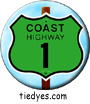 Coast Highway 1 Sign Pin-Back Button