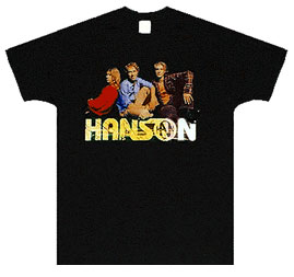 Hanson Black Top of Logo Tee Size XL