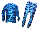 Blue Crinkle Tie Dyed Thermal Set