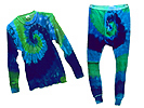 Blue-Green Tie Dyed Thermal Set