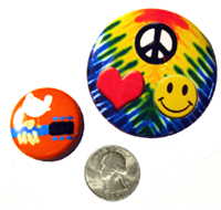 Large Flower Power Button, Small World Peace Button, 25¢ Coin