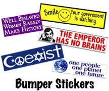Peace, Political and Anti-Bush Bumper Sticker Mini Collage