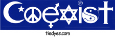 Coexist Political Anti-Bush Bumper Sticker from Tara Thralls Designs' tiedyes.com