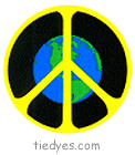Earth with Yellow Peace Sign Sticker