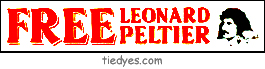 Free Leonard Peltier Political Anti-Bush Bumper Sticker from Tara Thralls Designs' tiedyes.com