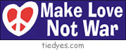 Make Love Not War Peace Sign in Heart Anti-War Anti-Bush Peace Political Bumper Sticker