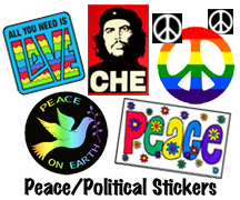 Peace, Political and Anti-Bush Vinyl Sticker Mini Collage