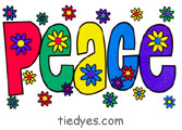 Rainbow Peace Word with Flowers Sticker