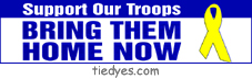 Support Our Troops Bring Them Home Now Yellow Ribbon Anti-Bush Political Anti-War Peace Bumper Sticker