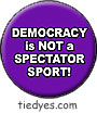 Democracy is Not a Spectator Sport Liberal Democratic Political Magnet (Badge, Pin)