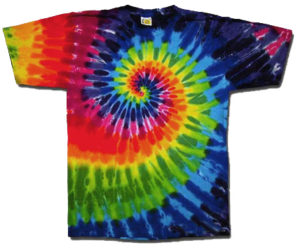 Tie Dyed Swirl Rainbow Tee from Tara Thralls Designs' tiedyes.com