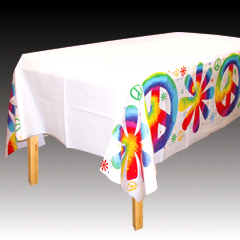 Tie Dyed Plastic Tablecloth Peace Tablecover